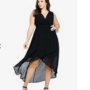 Torrid Black Chiffon Feel Hi Low Dress